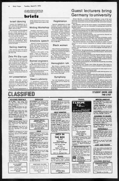 Daily Trojan, Vol. 68, No. 89, March 09, 1976