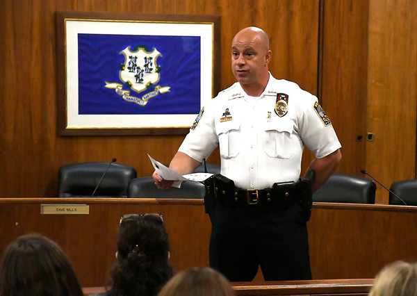 6/28/2018 Mike Orazzi | Staff Police Chief Brian Gould during Protecting Our Kids&quote; a community outreach opportunity to address the concerns of parents and inform them of the possible dangers and threats children face when using the Internet.