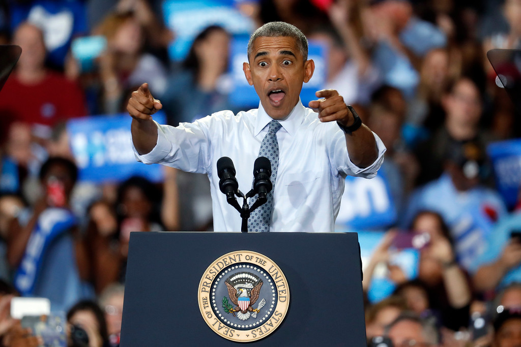 . President Barack Obama speaks during a campaign event for Democratic presidential candidate Hillary Clinton at Capital University, Tuesday, Nov. 1, 2016, in Columbus, Ohio. (AP Photo/John Minchillo)