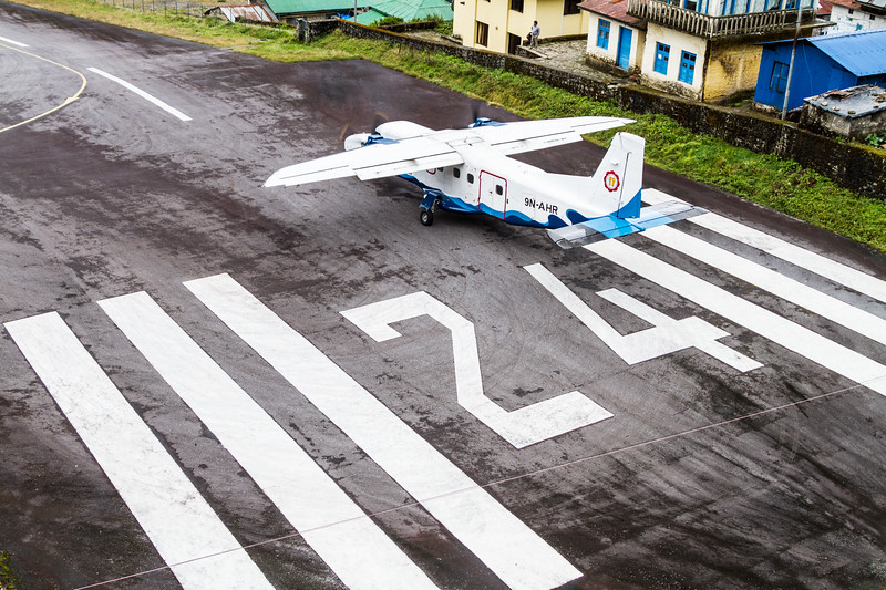 A plane prepares to take off from Tenzing-Hillary Airport in Lukla, Nepal