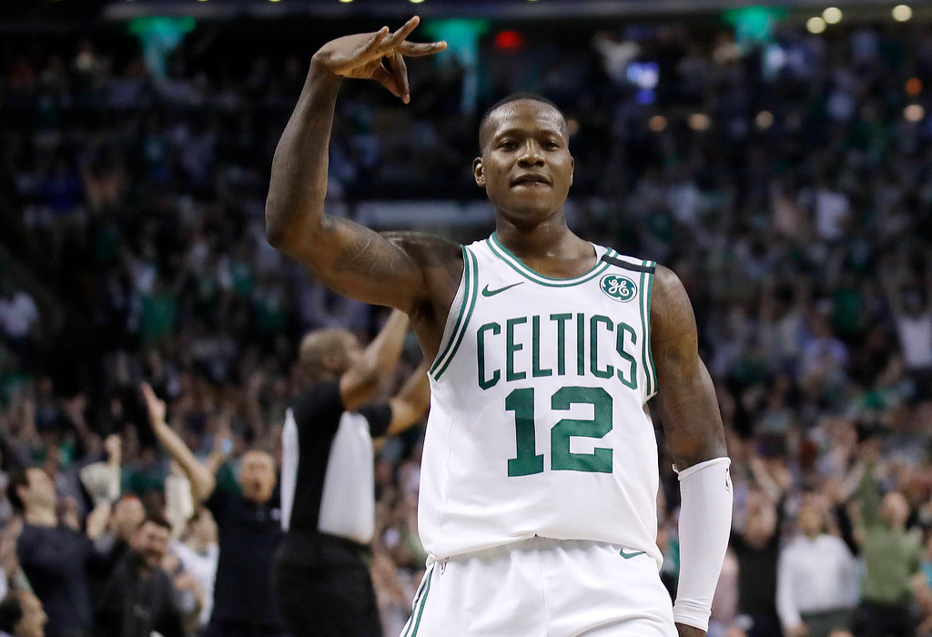 . Boston Celtics guard Terry Rozier gestures after sinking a 3-point shot during the second half in Game 2 of the team\'s NBA basketball Eastern Conference finals against the Cleveland Cavaliers, Tuesday, May 15, 2018, in Boston. (AP Photo/Charles Krupa)