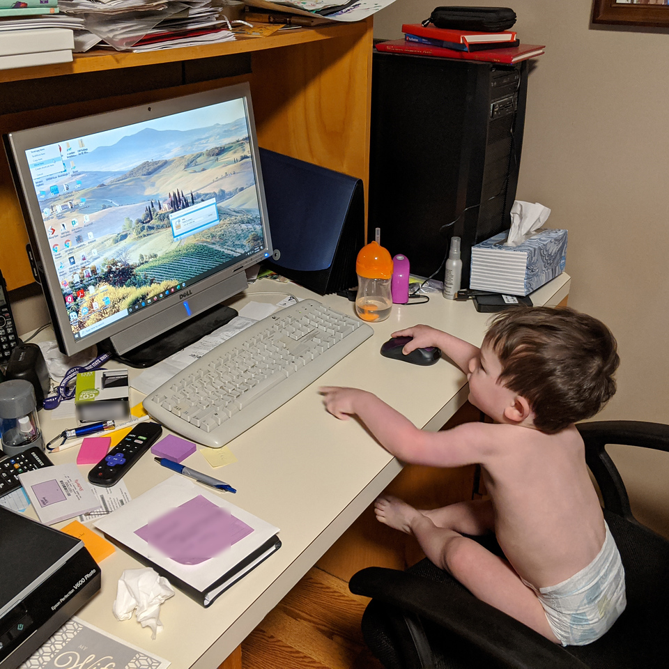 Tiniest human co-worker on my home computer, March 31, 2020