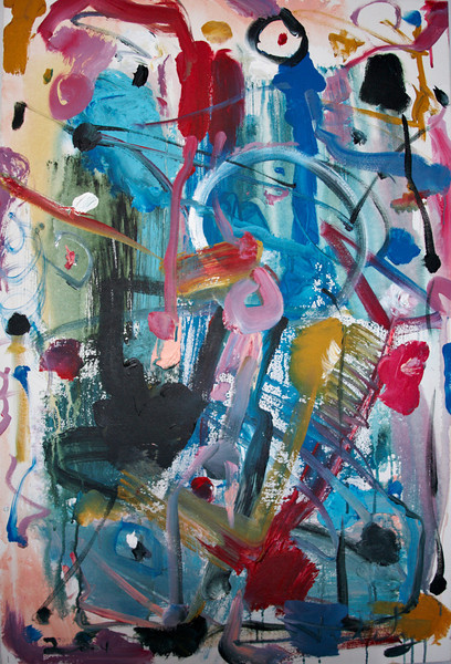 """2002, 30"""" x 40"""". On The Playground, Acrylic on canvas. (Owned by Susan Brewer)."""