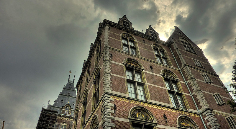 Oude Kerk, Delft. This is an HDR shot, blending two photos into one - one of the sky and one of the building. I love how this shot came out. It may be my favorite shot from the whole trip.