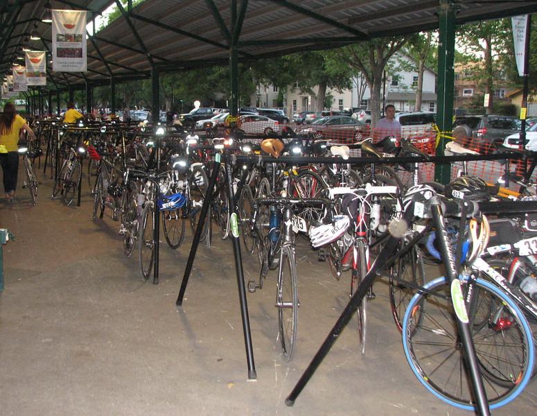 Valet bike parking in Central Park pavilion