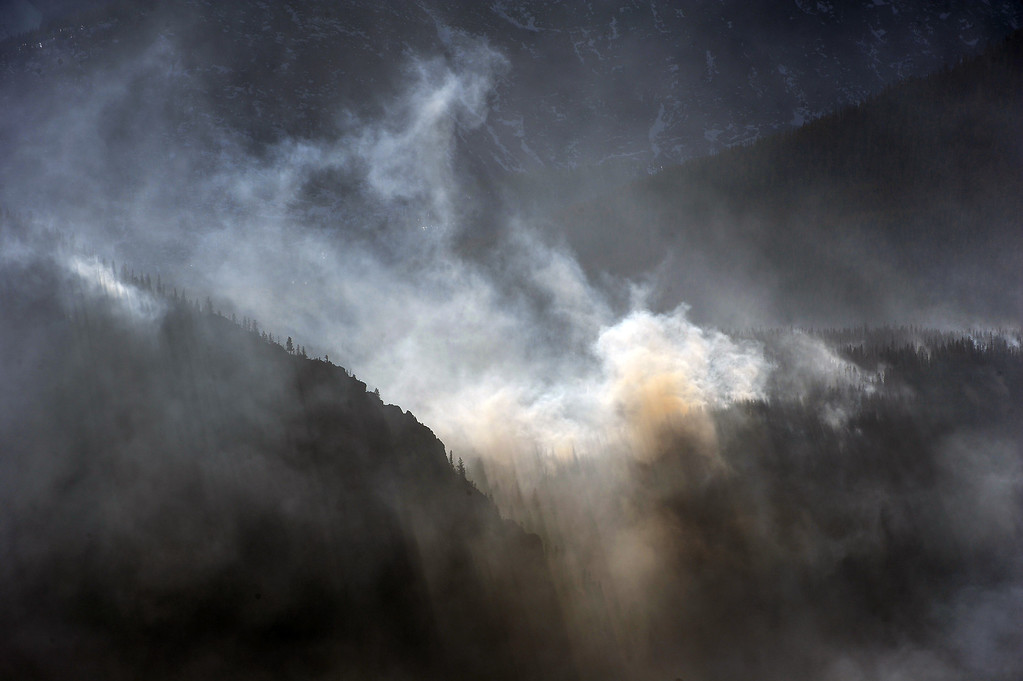 . The Fern Lake Fire burns in Rocky Mountain National Park on December 2, 2012.