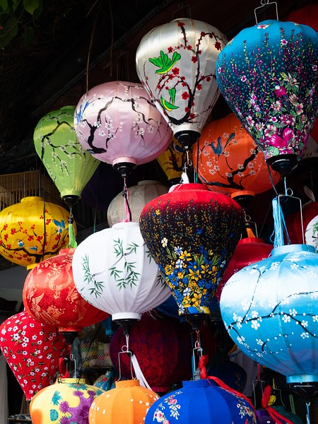 Colorful Fabric Lanterns in Vietnam