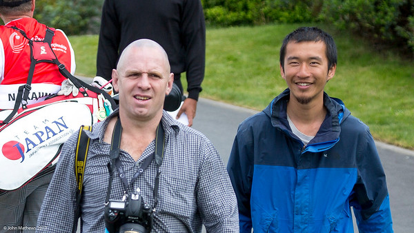 Photographer Dave Lintiott with the hitchhiker he picked up in the Wairarapa  and bought along to watch the golf on the 2nd day of competition  in the Asia-Pacific Amateur Championship tournament 2017 held at Royal Wellington Golf Club, in Heretaunga, Upper Hutt, New Zealand from 26 - 29 October 2017. Copyright John Mathews 2017.   www.megasportmedia.co.nz