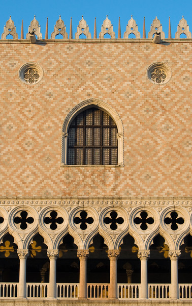 Architectural Detail of Facade of Gothic Palazzo Ducale (Doge's Palace), Piazza San Marco (St. Mark's Square), Venice, Italy