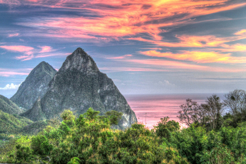 My artsy attempt at the Pitons at sunset -St. Lucia