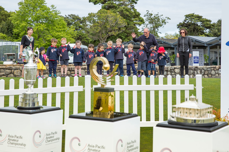 Primary school children with a practical lesson from the teachers that winners can't always keep their trophies on  the 1st day of competition in the Asia-Pacific Amateur Championship tournament 2017 held at Royal Wellington Golf Club, in Heretaunga, Upper Hutt, New Zealand from 26 - 29 October 2017. Copyright John Mathews 2017.   www.megasportmedia.co.nz