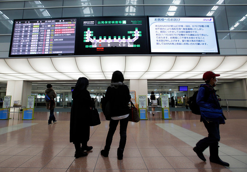 ". Women stand under a signboard on which a message from All Nippon Airways, right, titled ""Apology to passengers\"" telling cancellation of all ANA flights using Boeing 787 for the day after an emergency landing of its flight in the morning is on display Wednesday, Jan. 16, 2013 at Haneda Airport in Tokyo. ANA said a cockpit message showed battery problems and a burning smell were detected in the cockpit and the cabin, forcing a Boeing 787 on a domestic flight to land at Takamatsu airport in western Japan Wednesday morning. (AP Photo/Shizuo Kambayashi)"