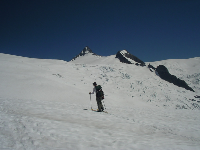 We finally meet up with Scott. He had skied all the way to below the summit pyramid, and skied down to meet us.