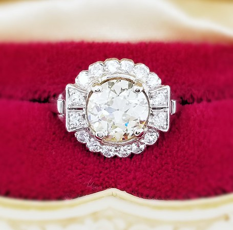 2.03ct Old European Cut Diamond Ring - AGS N, VS1