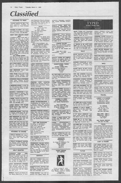 Daily Trojan, Vol. 88, No. 20, March 04, 1980