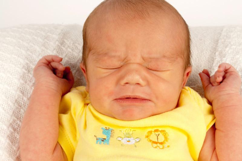 Breyden's Newborn Photos.   This is Breyden, mid-sneeze.