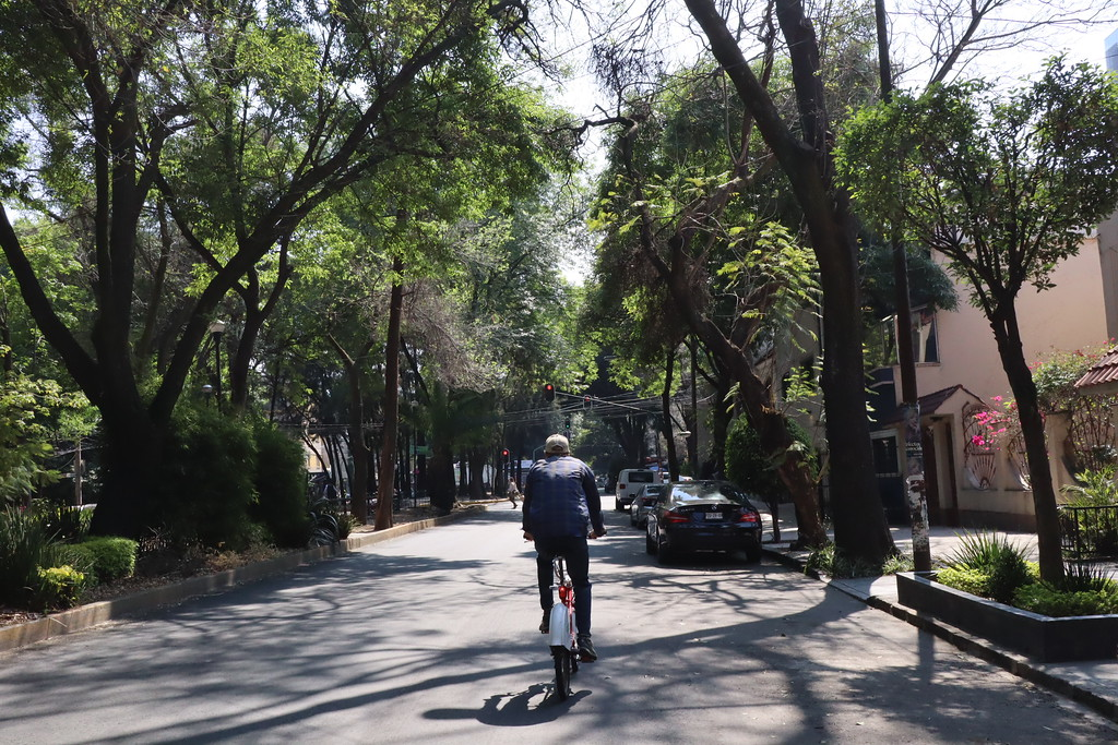 Adam biking in Condesa neighborhood