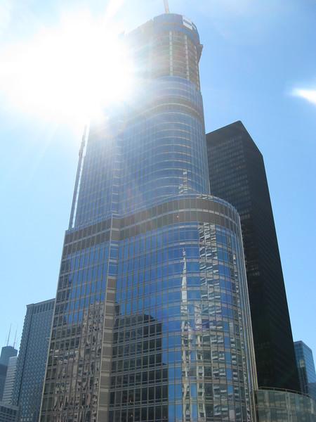 Trump Tower against the sun
