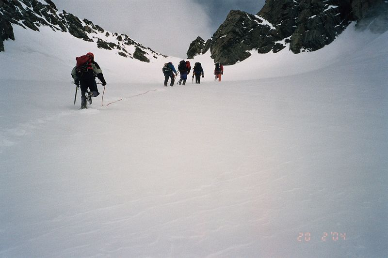 Climbing up to Kelman Hut. 19 Feb 04
