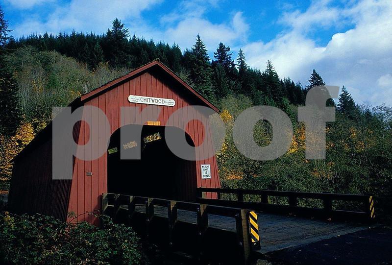 Chitwood covered bridge in Oregon Coast Range. 1