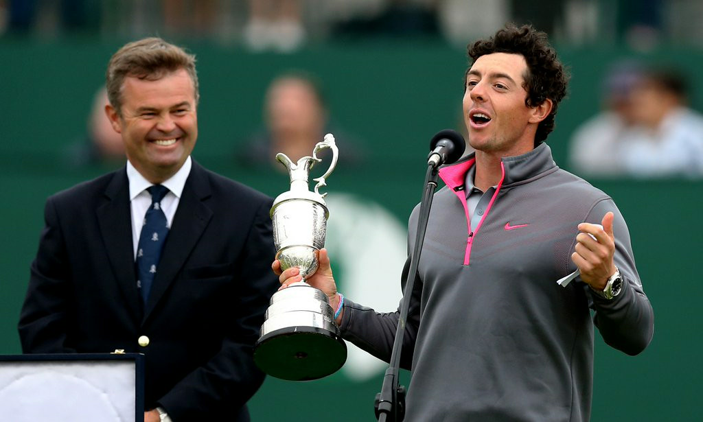 ". <p><b> Rory McIlroy, arguably the world�s top golfer, did this on Sunday for the third time � </b> </p><p> A. Won a major </p><p> B. Set a course record at the British Open </p><p> C. Dumped Caroline Wozniacki </p><p><b><a href=""http://www.twincities.com/sports/ci_26183631/mcilroy-poised-move-closer-career-grand-slam\"" target=\""_blank\"">LINK</a></b> </p><p>   (AP Photo/Scott Heppell)</p>"