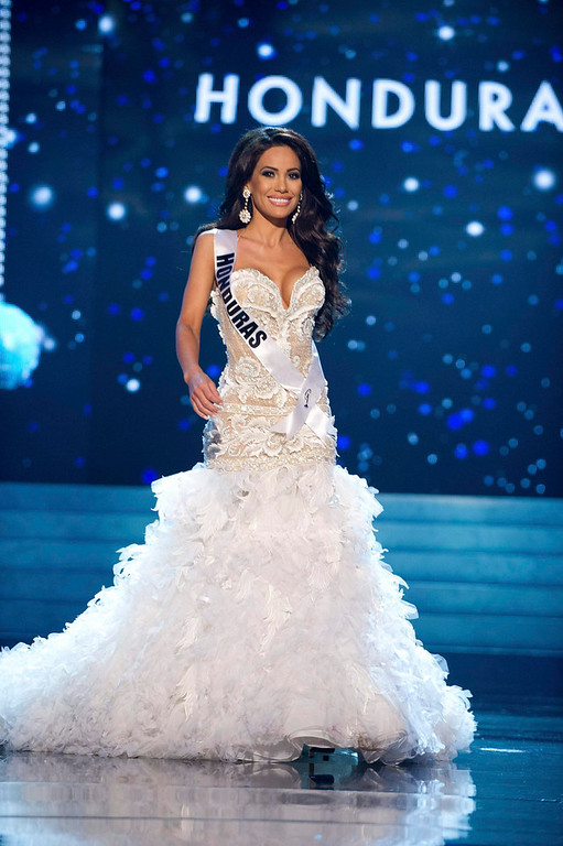 . Miss Honduras 2012 Jennifer Andrade competes in an evening gown of her choice during the Evening Gown Competition of the 2012 Miss Universe Presentation Show in Las Vegas, Nevada, December 13, 2012. The Miss Universe 2012 pageant will be held on December 19 at the Planet Hollywood Resort and Casino in Las Vegas. REUTERS/Darren Decker/Miss Universe Organization L.P/Handout