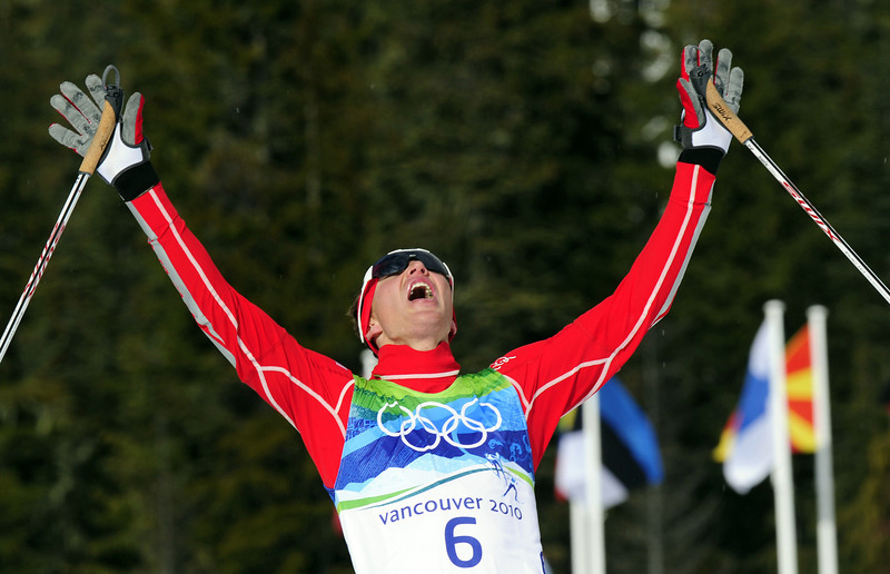 . Gold medalist Bill Demong of the US reacts after winning the men\'s Nordic Combined Cross Country at Whistler Olympic Park during the Vancouver Winter Olympics on February 25, 2010.   (FRANCK FIFE/AFP/Getty Images)