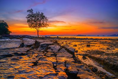 Klong Muang beach on sunset Krabi province Thailand