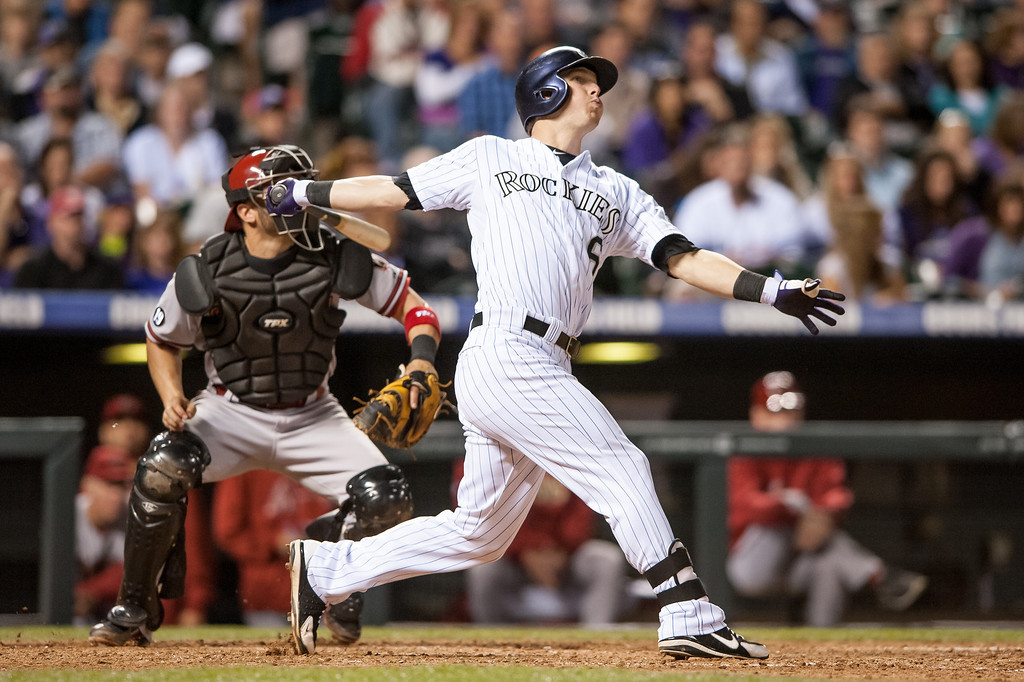 . DENVER, CO - SEPTEMBER 20:  Corey Dickerson #6 of the Colorado Rockies watches the flight of a sixth-inning home run hit against the Arizona Diamondbacks at Coors Field on September 20, 2013 in Denver, Colorado. (Photo by Dustin Bradford/Getty Images)