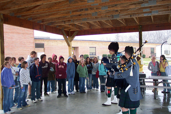 Bagpipers Visit Fluvanna Middle School