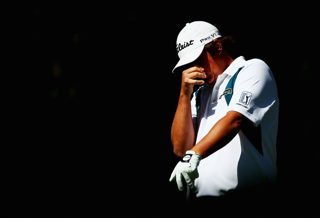 . ROCHESTER, NY - AUGUST 10:  Jason Dufner of the United States reacts to hitting a ball in the water on the fifth hole during the third round of the 95th PGA Championship on August 10, 2013 in Rochester, New York.  (Photo by Streeter Lecka/Getty Images)