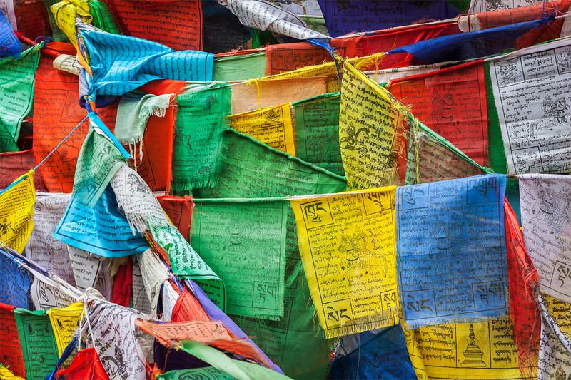 Tibetan Buddhism prayer flags (lungta). Leh, Ladakh, Jammu and Kashmir, India