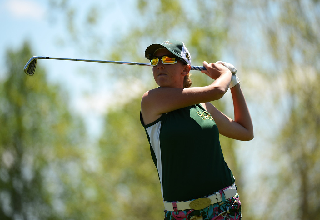. ENGLEWOOD, CO. - MAY 21 : Alex Trask of Bishop Machebeuf High School is in State 4A Girl\'s Golf Championship at Broken Tree Golf Course. Englewood, Colorado. May 21, 2013. (Photo By Hyoung Chang/The Denver Post)