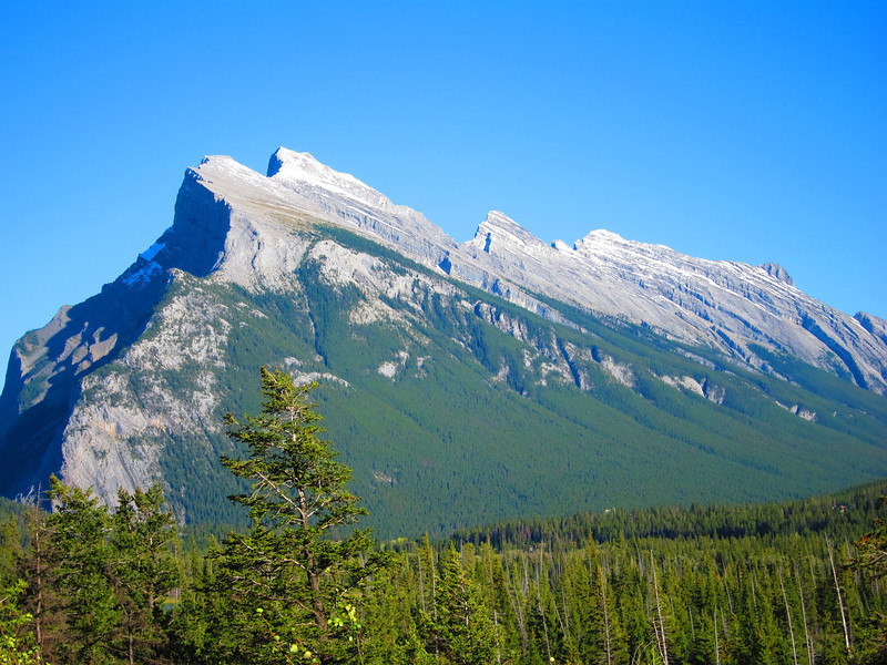 Mt Rundle, as seen just east of Banff, Alberta - summit is highest point in image (9,675').