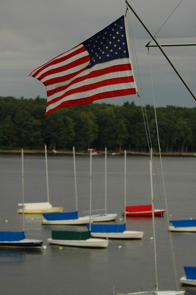 American flag flying over Flying Scots on Deep Creek Lake
