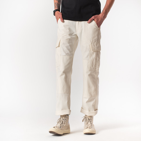 White 10.5oz Cotton Herringbone Cargo Pants--3.jpg