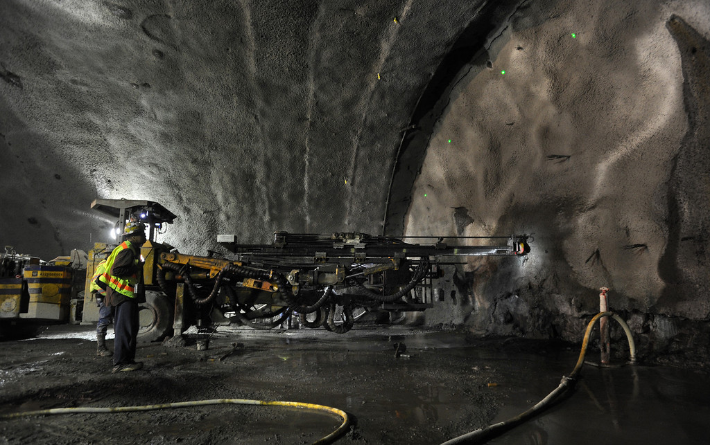 . Caltrans contractors from Tudor-Salida drill a probe into the face of the Caldecott Tunnel excavation 1200 feet into the Berkeley hills near Orinda, California Monday March 28, 2011.   (Karl Mondon)