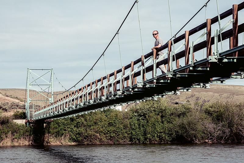 Umtanum Creek Recreation Area outside of Ellensburg, WA with the Yakima River below the suspension bridge.