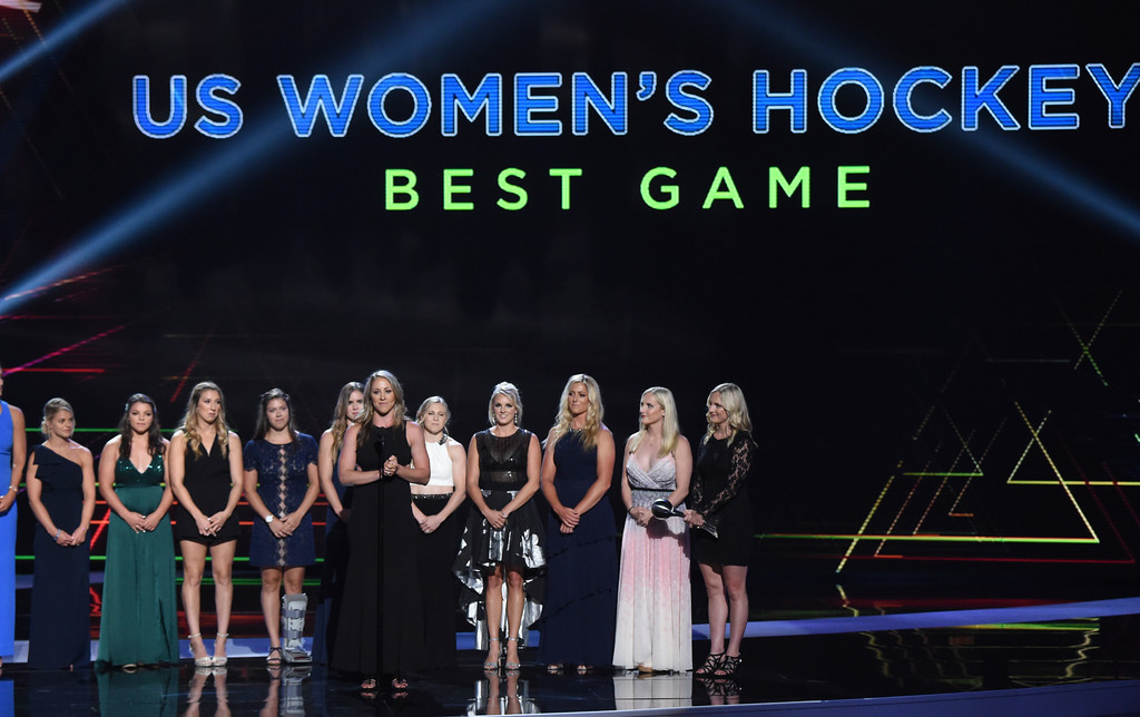. The U.S. women\'s hockey team accepts the award for best game for defeating Canada in the 2018 Winter Olympics, at the ESPY Awards at Microsoft Theater on Wednesday, July 18, 2018, in Los Angeles. (Photo by Phil McCarten/Invision/AP)