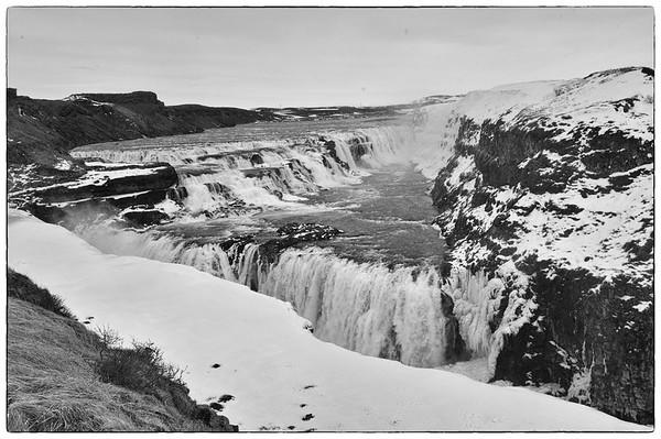 Islande GULLFOSS en noir et blanc