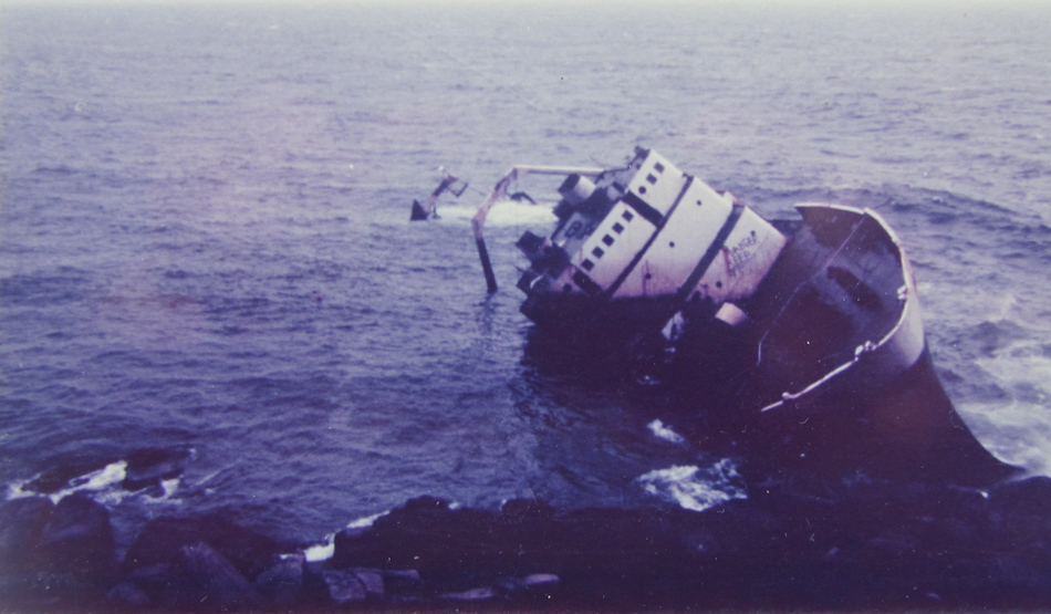 Hard aground off Penzer Point.