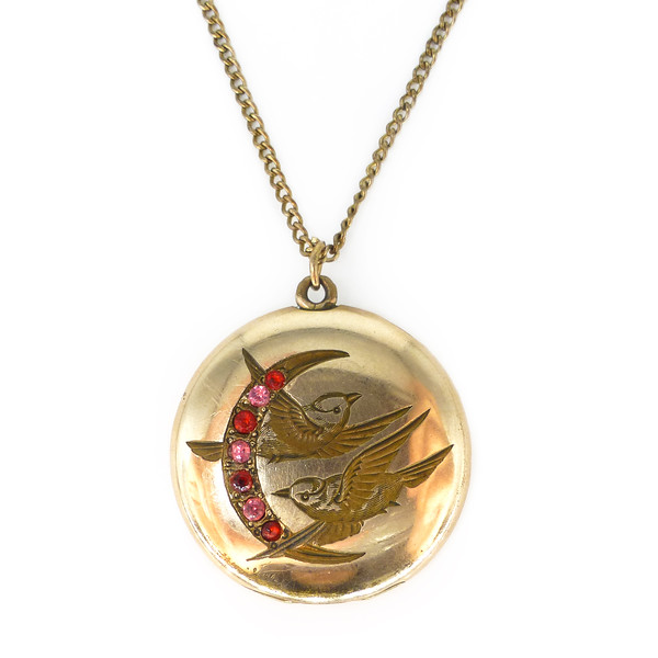 Antique Gold Filled Swallow Crescent Moon Sentimental Locket Necklace
