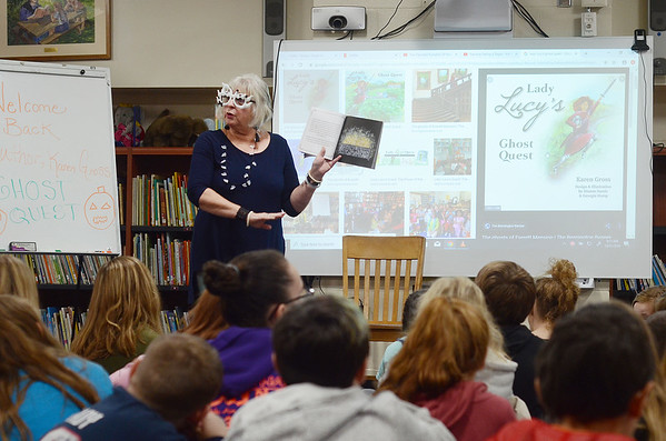 Author Karen Gross reads to students at Molly Stark - 103119
