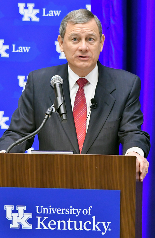 . Chief Justice John Roberts speaks at the The John G. Heyburn II Initiative and University of Kentucky College of Law\'s judicial conference and speaker series, Wednesday, Feb. 1, 2017, in Lexington, Ky., a day after President Donald Trump nominated Neil Gorsuch to the Supreme Court.   (AP Photo/Timothy D. Easley)