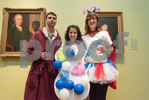 10/27/17 Wesley Bunnell | Staff The New Britain Museum of American Art held their Museum After Dark 11th Annual Halloween Bash on Friday evening. Kieth G., Laura Levere and Catherine Preysner.