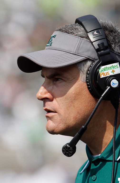 . Eastern Michigan coach Chris Creighton watches the action during the second quarter of an NCAA college football game against Michigan State, Saturday, Sept. 20, 2014, in East Lansing, Mich. Michigan State won 73-14. (AP Photo/Al Goldis)