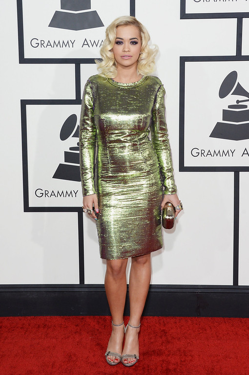 . Singer Rita Ora attends the 56th GRAMMY Awards at Staples Center on January 26, 2014 in Los Angeles, California.  (Photo by Jason Merritt/Getty Images)
