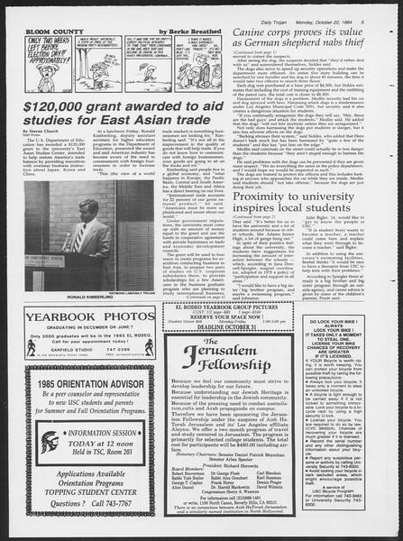 Daily Trojan, Vol. 97, No. 35, October 22, 1984