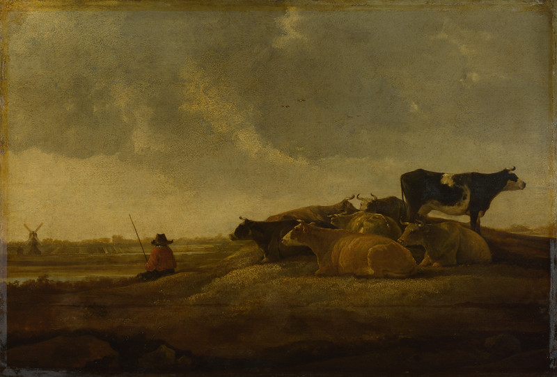 A Herdsman with Seven Cows by a River