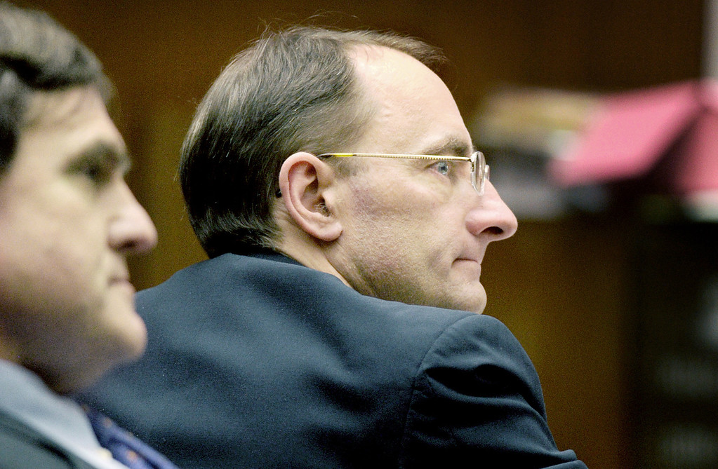 . Christian Karl Gerhartsreiter right, at murder trial at Clara Shortridge Foltz Criminal Justice Center in Los Angeles Thursday, March 28, 2013. Cerhartsreiter has pleaded not guilty to the killing of John Sohus, 27, who disappeared with his wife, Linda, in 1985 while Gerhartsreiter was a guest cottage tenant at the home of Sohus\' mother, where the couple lived. (Photo by Walt Mancini/SGVN)
